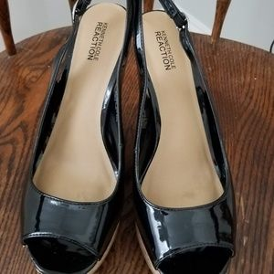 Kenneth Cole Reaction Shoes - Kenneth Cole Reaction Wedges in Blk Patent Leather